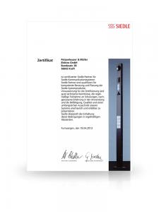Zertifikat SIEDLE
